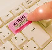 Text Sign Showing Software Engineering. Conceptual Photo Apply Engineering To The Development Of Sof poster