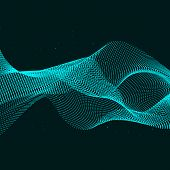 Vector Motion Light Techno Background Wave. Abstract Wave Blue Vector poster