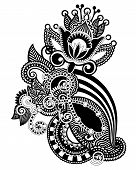 stock photo of indium  - Hand draw line art ornate flower design - JPG