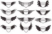 Wings Logo. Winged Emblems, Angel And Phoenix Wings Heraldic Symbols, Sign For Brand, Certificate An poster