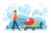 Single Father With Pram Flat Vector Illustration. Young Adult Man, Parent With Baby Carriage, Male B poster