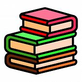 Stack Of Books Icon. Outline Stack Of Books Vector Icon For Web Design Isolated On White Background poster