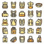 Backpack Icons Set. Outline Set Of Backpack Vector Icons For Web Design Isolated On White Background poster