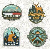 Set Of Hunting Club Badge. Vector Concept For Shirt, Label, Print, Stamp. Vintage Typography Design  poster