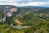 River In The Beautiful Ardeche Gorge In France. Blue River In Europe. Touristic Landscape In The Sou poster