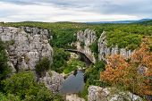 River In The Beautiful Ardeche Gorge Near Casteljau In France. Blue River In Europe. Touristic Lands poster