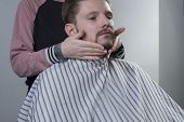 Closeup Process Of Haircut And Beard Care. A Professional Master Prepares A Clients Beard For Cuttin poster