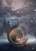 Dark Night Magic Scene. Magic Old Mirror In A Metal Frame On A Wooden Tabletop. Smoke, Magic, Magica poster