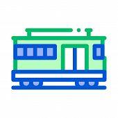 Public Transport Cable Car Vector Thin Line Icon. Cable Car Railway Machine, Urban Passenger Transpo poster