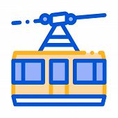 Public Transport Aerial Lift Vector Thin Line Icon. Elevated Mountain Road Aerial Lift, Urban Passen poster
