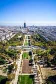 Aerial View Of The Champ De Mars From Eiffel Tower, Paris, France poster