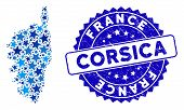 Blue Corsica France Island Map Collage Of Stars, And Grunge Rounded Stamp Seal. Abstract Territory S poster