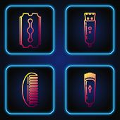 Set Line Electrical Hair Clipper Or Shaver, Hairbrush, Blade Razor And Electrical Hair Clipper Or Sh poster