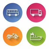 Set Line Bus, Delivery Cargo Truck Vehicle, All Terrain Vehicle Or Atv Motorcycle And Cargo Ship. Co poster