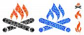 Campfire Mosaic Of Round Dots In Various Sizes And Color Tones, Based On Campfire Icon. Vector Round poster