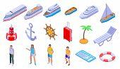 Cruise Icons Set. Isometric Set Of Cruise Vector Icons For Web Design Isolated On White Background poster