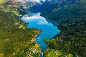 Beautiful Nature Norway natural landscape. lovatnet lake Lodal valley. poster