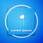 White Flower Producing Pollen In Atmosphere Icon Isolated On Blue Background. Blue Square Button. Ve poster