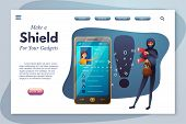 Make Shield For You Gadget Landing Page Template. Identity Theft Abstract Flat Vector Illustration.  poster