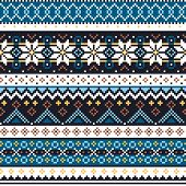 Scottish Fair Isle Style Traditional Knitwear Vector Seamless Pattern, Shtelands Knit Repetitive Des poster