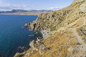 Gravel Bay Is One Of The Most Beautiful Bays Of Cape Meganom. Crimea, A Sunny Day In September. poster