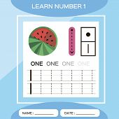 Learn Number 1. One . Children Educational Game. Kids Learning Material. Lets Trace Number 1 And Wri poster