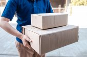 Young Delivery Man Deliver Box Parcel Package And Sending To Customer In Front Of The House, Shippin poster