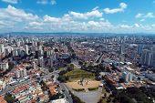 Aerial View Of Public Brazil Independence Park And Monument. Ipiranga, São Paulo, Brazil. Landmark O poster
