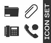Set Telephone Handset And Speech Bubble Chat, Document Folder, Telephone And Paper Clip Icon. Vector poster