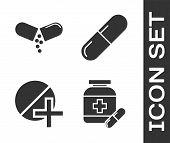 Set Medicine Bottle And Pills, Medicine Pill Or Tablet, Medicine Pill Or Tablet And Medicine Pill Or poster