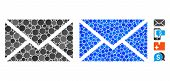 Mail Mosaic Of Spheric Dots In Various Sizes And Color Tones, Based On Mail Icon. Vector Dots Are Co poster