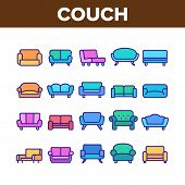 Couch Sofa Furniture Collection Icons Set Vector Thin Line. Vintage And Modern Comfortable Seat Couc poster