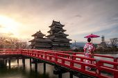 Young Asian Woman Wearing Kimono Japanese Tradition Dressed Sightseeing At Matsumoto Castle During C poster