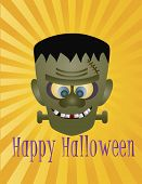 stock photo of frankenstein  - Happy Halloween Frankenstein Monster with Sun Rays and Text Illustration - JPG