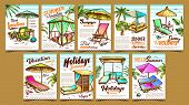 Summer Vacation Advertising Posters Set Vector. Collection Of Different Vacation Banners With Comfor poster