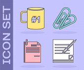 Set Blank Notebook And Pen, Coffee Cup Flat, File Document And Paper Clip And Paper Clip Icon. Vecto poster