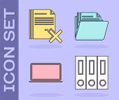 Set Office Folders With Papers And Documents, Delete File Document, Laptop And Document Folder Icon. poster