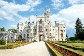 picture of bohemia  - Famous white castle Hluboka nad Vltavou Czech Republic - JPG