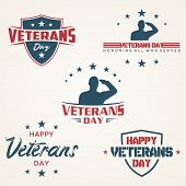 Set Of Vintage Latter Happy Veterans Day Concept Background. Illustration Of Happy Veterans Day Vect poster