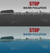 Stop Water Pollution Illustration. Stock Vector. Different Garbage And Slime In The Water. Eco Conce poster