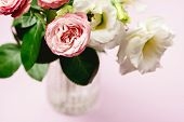 Beautiful Flowers In A Vase Spring Background White And Pink Flowers On Pink Background Copy Space H poster