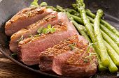 stock photo of barbary duck  - duck breat fillet with asparagus - JPG