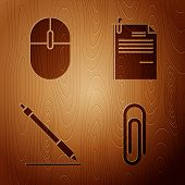 Set Paper Clip, Computer Mouse, Pen Line And File Document And Paper Clip On Wooden Background. Vect poster
