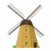 Windmill Isolated On White Background. Traditional Rural House Mill With Propeller. Old Windmill Bui poster