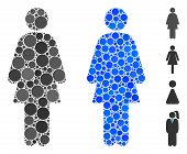 Female Composition Of Small Circles In Different Sizes And Shades, Based On Female Icon. Vector Fill poster
