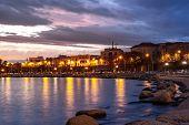 Beautiful Sunset On The Coast Of Bari, Adriatic Sea. poster