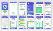 Set Of Ui, Ux, Gui Screens Delivery App Flat Design Template For Mobile Apps, Responsive Website Wir poster