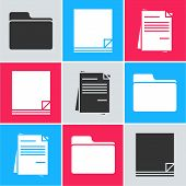 Set Document Folder, File Document And File Document Icon. Vector poster