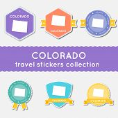 Colorado Travel Stickers Collection. Big Set Of Stickers With Us State Map And Name. Flat Material S poster