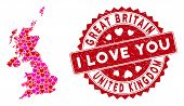 Lovely Collage United Kingdom Map And Rubber Stamp Seal With I Love You Message. United Kingdom Map  poster